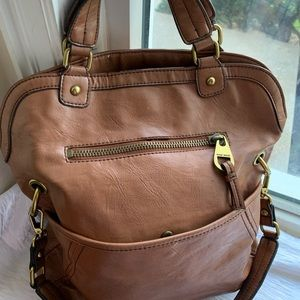 Brown nine west satchel 15 by 14